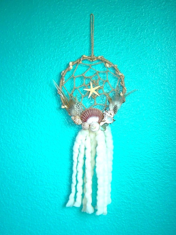 Seashell Dreamcatcher With Shells, Mandela Wool and Feathers