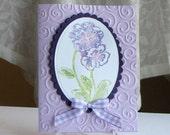 Purple Pansy watercolor flower - Custom - Stamped Card
