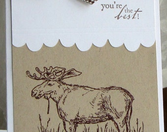 Moose handmade card - guy birthday card - handmade card - greeting card - hunter card - dad card - masculine card - kraft card