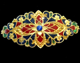 Hand Painted Hair Ornament/ Barrette in Red Green and Blue