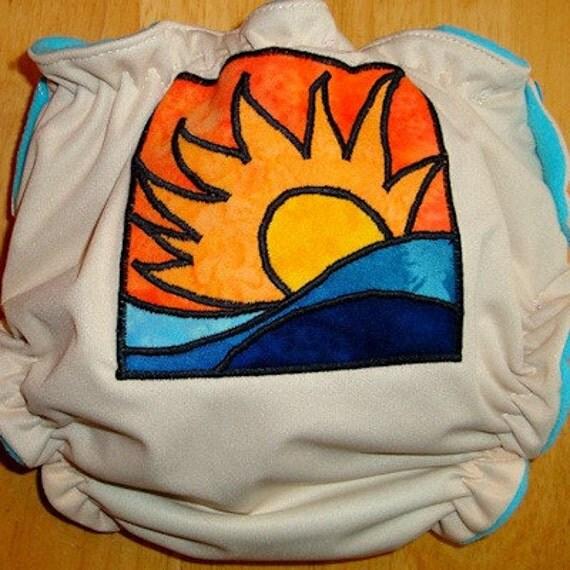 AI2 Cloth Diaper - Medium - Sunset - Free US Shipping