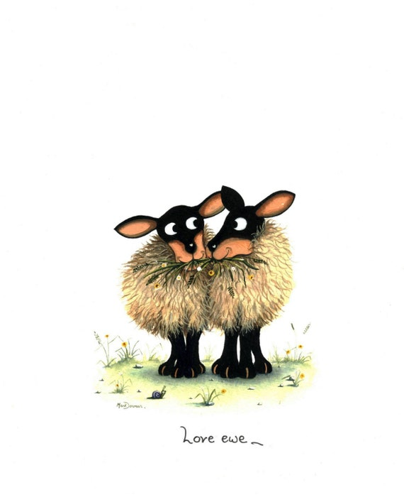 love ewe sheep picture from a watercolour by UK artist Mark Denman signed print