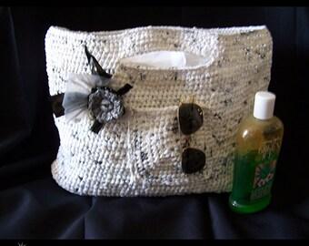 White and Black Beach-Shopping Bag