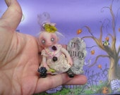 OOAK Ghost Gothic Fairy Miniature Halloween Doll Gail Lackey Ghostie