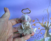 OOAK Ghost Christmas Fairy Miniature Halloween Doll Gail Lackey Ghostie