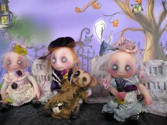 OOAK Ghost Gothic Miniature Halloween Doll Gail Lackey Ghostie