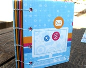 Social Networking on the Web - Blank Coptic Bound Journal - with free gift
