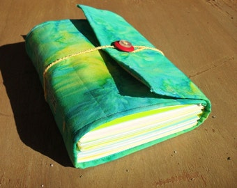 Caribbean Spritzer - Teal and Yellow Softcover Fabric Journal or Blank Book