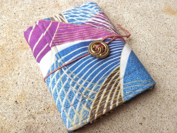Japanese Blue and Purple Fabric Softcover Journal - Geometric Design