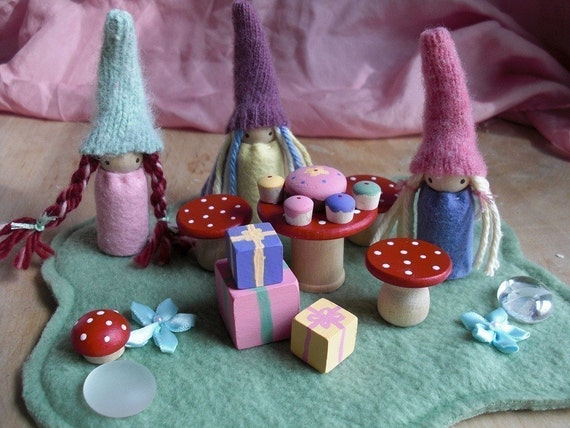 Waldorf Gnome Birthday Party Play Set  Wood and Wool