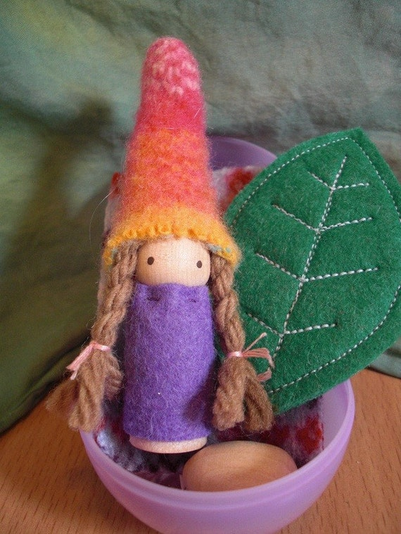 SALE Easter Waldrof Gnome in Egg Playset Bright Gnome in purple egg