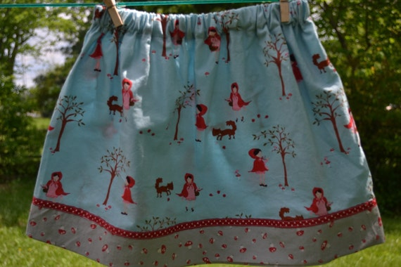 Little Red Riding Hood Skirt  size 5T to 7 with A Walk In The Woods Fabric and mushrooms
