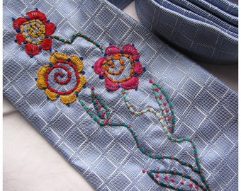Happy Hand Embroidered Flower Tie