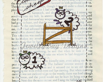 Counting Sheep - Original Mixed Media Altered Vintage Book Pages
