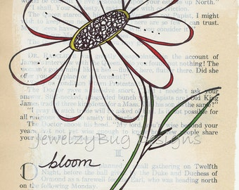 BLOOM Original Mixed Media Altered Book Page