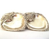 Two Beautiful Silver Plate Heart Trinket Candy Dishes Trays
