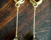 8 Gauge Purple and Gold Titanium Druzy Tear Drop Plugs