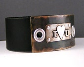I Love You Mixed Metal Black Leather Cuff