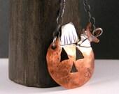 Fall Copper  Pumpkin Necklace