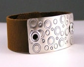 Leather, Sterling Silver ,Retro Circle Cuff