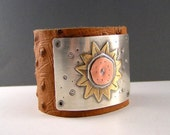 Sunflower Leather Art Cuff