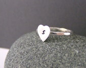 Heart Ring, Silver Heart Ring, Stack Ring, Initial Heart Rings