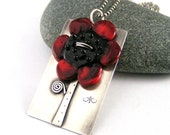 Lampwork Glass Red Sunflower Sterling Silver Necklace