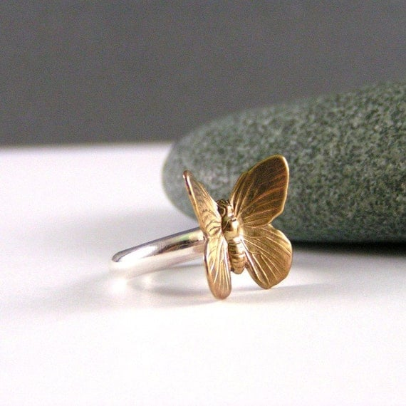Sterling Silver And Brass Butterfly Ring, Taking Flight