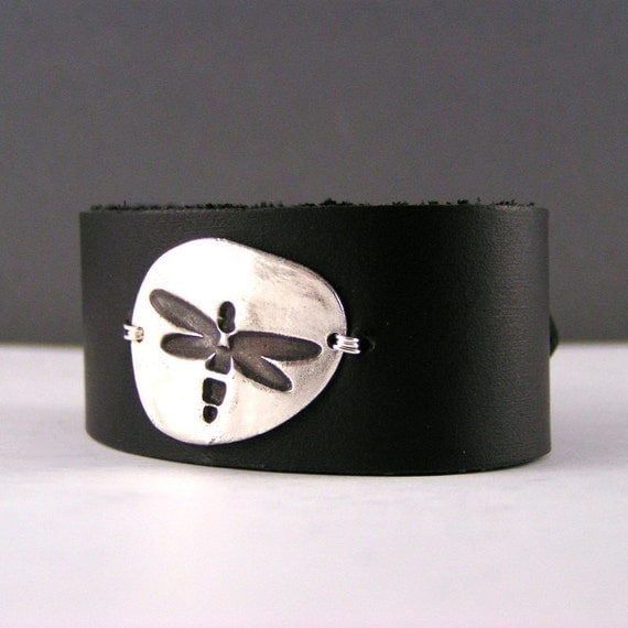 Dragonfly Sterling Silver Black Leather Cuff Bracelet
