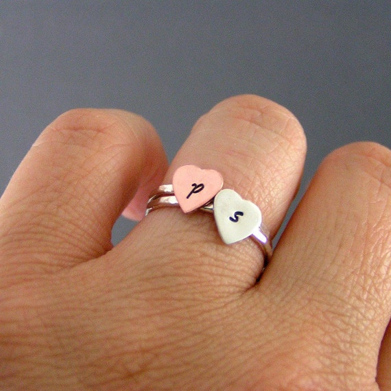 Heart Initial Rings, Heart Stack Rings, Initial Rings, Sterling Silver And Copper, Set Of 2 Personalized Rings