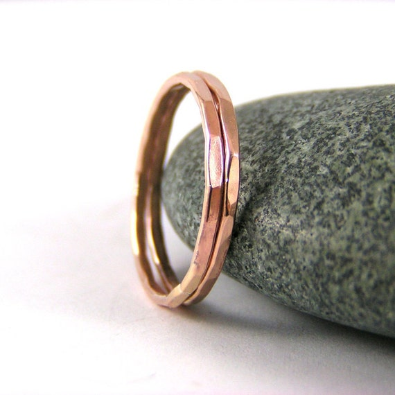 Stack Ring, Rose Gold, Stack Band, Womens Ring, Rose Gold, Hammered Ring