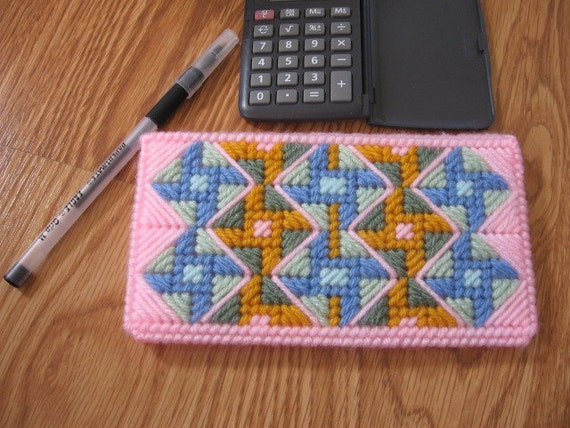 Plastic Canvas Checkbook Cover Pinwheel Quilt. Clearance Free Shipping.