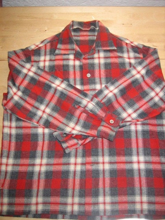 Men 39 S Vintage 1960s Wool Button Down Shirt
