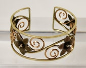 Vintage Yellow and Red Gold Cuff Bracelet / Retro / Authentic / with textured floral design