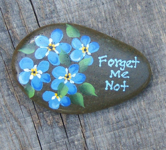 Idaho river rock- paper weight-hand painted acrylic original Forget me nots