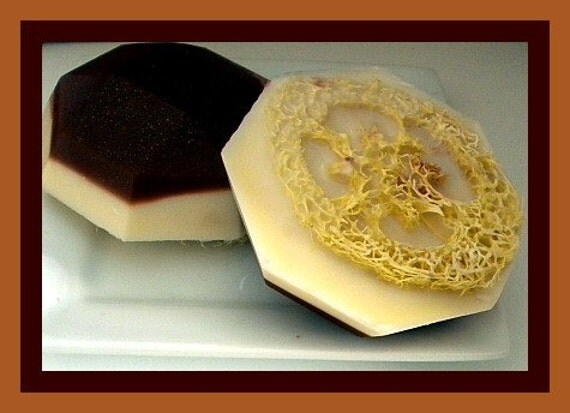 Soap - Loofah Soap - Mocha Latte Coffee Goat Milk Soap - Exfoliator - Gift for Mom, Sister, Aunt