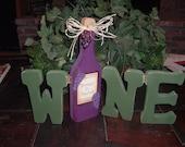 WINE/BOTTLE hinged letters shelf sitter