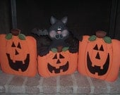 """Jack O""""Lantern Black cat hinged screen"""