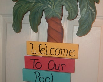 Welcome to our Pool Tropical palm tree door wall hanger