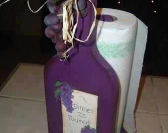 Wine bottle paper towel holder