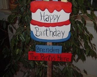 Happy Birthday garden stake (personalized)