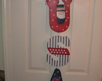USA hanging door letters