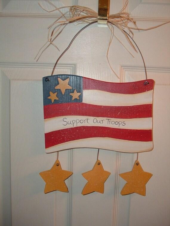 Support Our Troops door/wall hanger Patriotic Flag