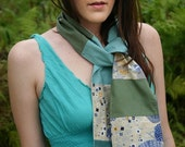 Aqua and Green Leafy patchwork scarf