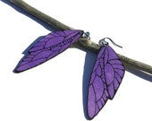 Purple wing earrings hand painted wood with light purple crystal beads wood jewelry