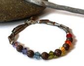 Chakra bracelet rainbow colors with copper filigree