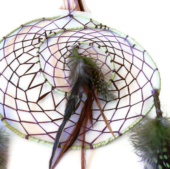 Spiral dream catcher purple brown and mint green ribbon with green and brown feathers
