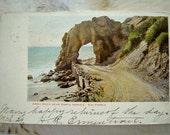 Santa Monica Postcard vintage 1900s California Arch Rock ocean CA