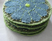 Felt coasters embroidered, beaded and needlefelted for wedding, house warming or hostess gifts