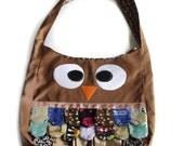 Brown  Owl Tote Bag, Purse - Animal, Bird, Handmade - Cute, Kitschy and Ready to Ship